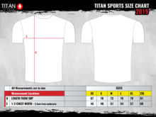 Titan Sports Customer Size Chart